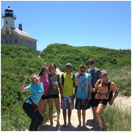 Teen Treks New England Coast takes a break from bicycling to explore the beach